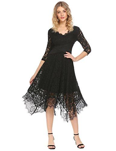 ACEVOG Women Floral Lace Dress Elegant V-Neck 3/4 Sleeve Asymmetrical Swing Party Dress Black