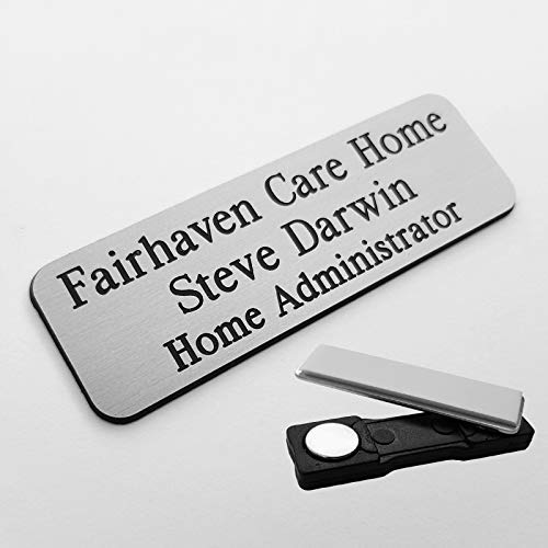 Magnetic Custom Staff ID Name Badges Gold or Silver Corporate Personalised  Bar Manager Staff Restaurant Manager Supervisor - Choose Colour, Text &