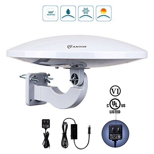 Outdoor TV Antenna -Antop Omni-Directional 360 Degree Reception Antenna for Outdoor, Attic,RV Used, 65 Miles Range with Amplifier Booster and 4G LTE Filter, Waterproof, Anti-UV and Easy Install (PL-