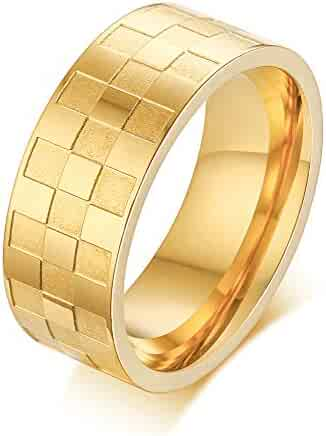 Size 11 Jewels By Lux Tungsten Checker Flag Beveled Edges Mens Comfort-fit 8mm Wedding Anniversary Band Ring