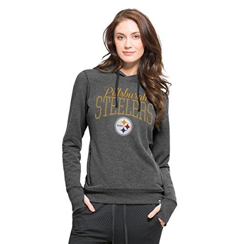 NFL Pittsburgh Steelers Women's '47 Forward Stride Pullover Hood, Shift Black, Medium