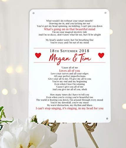 Canción letras personalizado de primer baile regalo de boda A4 ...