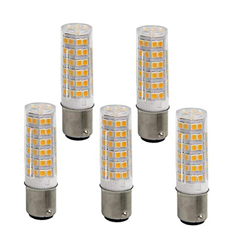 Bqhy Ba15d Double Contact Bayonet Base LED Light Bulbs 110 Volts 5 Watts 500lm Warm White 3000k T3/T4/C7/S6 LED Sewing Machine Replacement Bulb(Pack of 5)