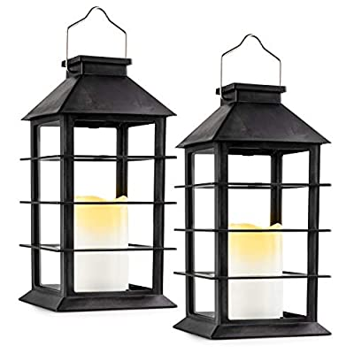 Solar Lantern - Solar Lanterns Outdoor Hanging Lights for Patio and Garden, Waterproof LED Flickering Flameless Glass Candle Mission Lights for Outdoor, Party Decorative Lights - Set of 2