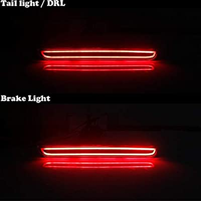 GTINTHEBOX Red Lens LED Rear Bumper Reflector Brake Tail Light for 2015-2020 Dodge Challenger: Automotive