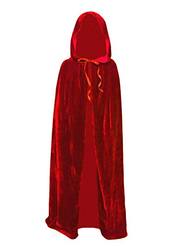 Kids Velvet Cape Cloak With Hood Unisex-Child Cosplay Halloween Christmas Costume (100cm/39.4inch, Red) (Childrens Capes & Cloaks)