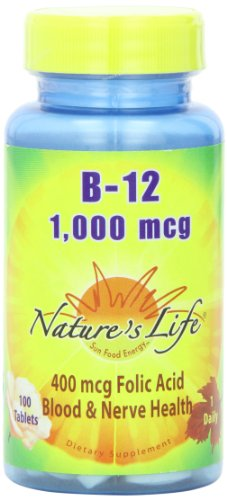 Nature's Life B-12 , 1000 Mcg, 400 mcg Folic Acid, 100 Tablets ()