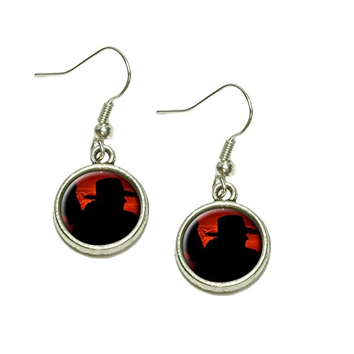 Cowboy with Horse Silhouette Dangling Drop Charm Earrings