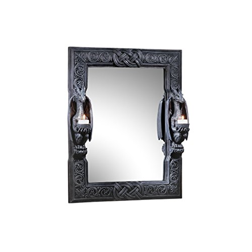 Design Toscano Thorne Twin Sentinal Dragons Gothic Decor Wall Mirror Sculpture with Candle Holders, 24 Inch, Black
