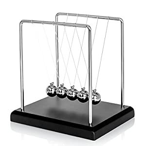 Classic Newton Cradle Balance Balls Science Psychology Puzzle Desk Fun Gadget With Black Wooden Base- Small