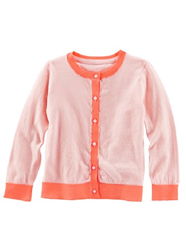 OshKosh B'Gosh Toddler Girls Colorblock Cardigan Sweater, Coral (2T)