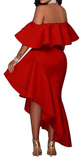 Cruiize Femmes Hérissent De L'épaule Amincissent Ourlet Irregual Club Robe Solide Rouge