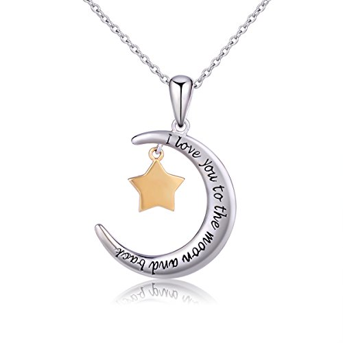 925 Sterling Silver Jewelry I Love You To The Moon and Back Five-pointed Star Dangle Pendant Necklace for Women, 18