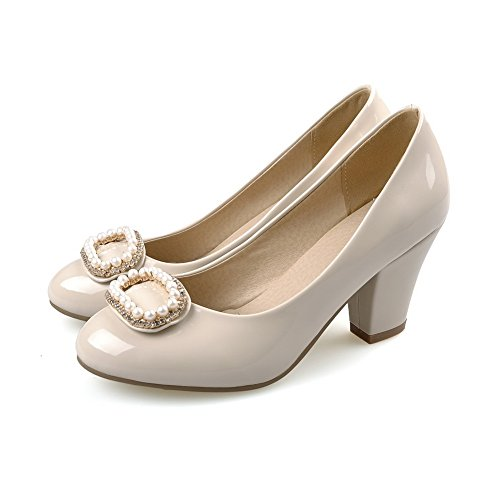 Pumps High Toe Shoes PU on Pull Apricot Closed Women's Heels Solid Round Odomolor zwvgtRqxP