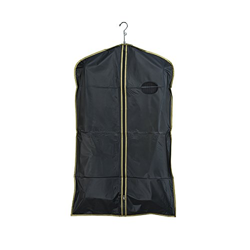 Econoco 40B/G 3 Gauge Vinyl Taffeta Finish Suit Cover with Oval Window and Center Zipper, 24'' x 40'', Black with Gold Trim (Pack of 100)