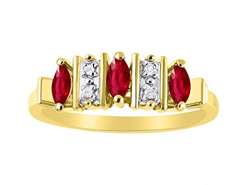 Marquise Ruby & Diamond Ring Set in Yellow Gold Plated Silver .925