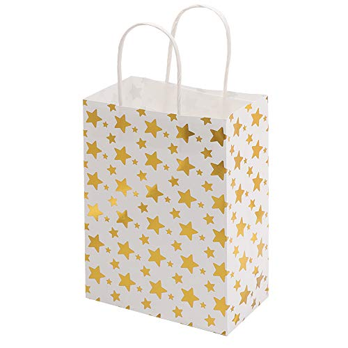 jumpeasy 6Pcs Lovely Cute Kraft Paper Wedding Favors Candy Package Shop Loot Handbag Gift Bag(star,gold)