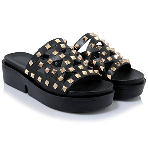 Women's TAOFFEN Sole Black Thick Mules Sandals Shoes FFq1rdUn