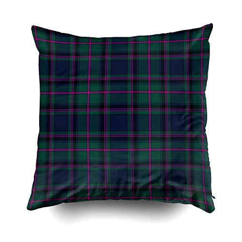 EMMTEEY Home Decor Throw Pillowcase for Sofa Cushion Cover, Halloween Traditional Cooper Clan Tartan Plaid Decorative Square Accent Zippered and Double Sided Printing Pillow Case Covers -