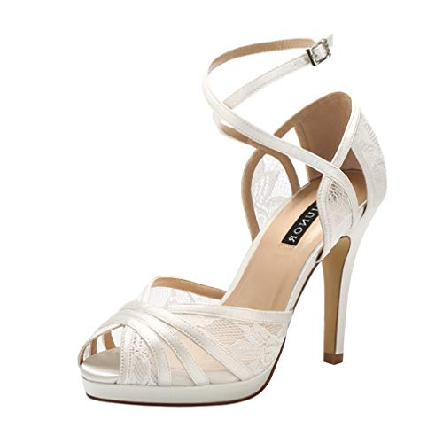ERIJUNOR E2403 Peep Toe Lace Wedding Shoes High Heel Platform Sandals with Ankle Strap Ivory Size - 1/2 Strap Inch Sandal Platform Ankle