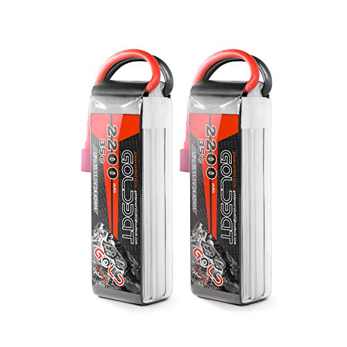 GOLDBAT 11.1V 2200mAh 3S 35C 3 Cell LiPo Battery Pack with Deans Plug for RC Helicopter Airplane Truck Car Boat Model(2 (3 Cell Battery Life)