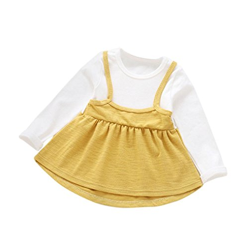 Vovotrade Fashion Cute Children Baby Girls Long Sleeve Dress Cotton Soft O-Neck Mini Dress (2T, Yellow) (Good Pregnant Lady Costumes)
