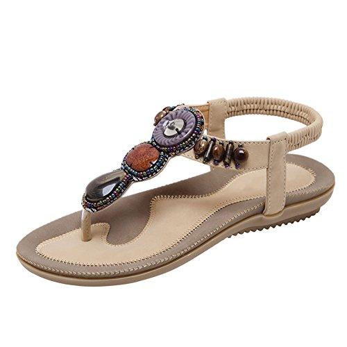 Fereshte Kvinners Bohemian Perler Flip Flop Flat Kjole Sandaler Stranden  Thong Gladiator No.799 Aprikos