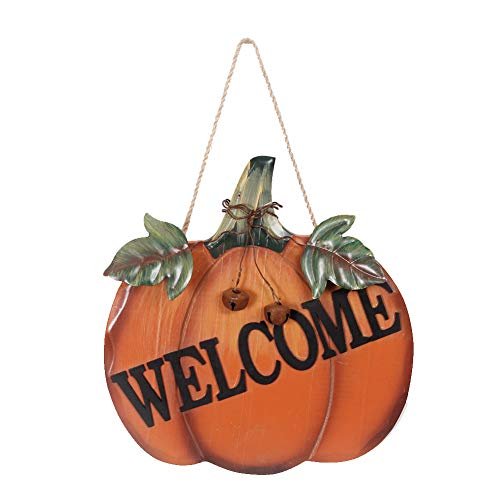 Wood Pumpkin Welcome Sign For Autumn Fall Harvest Thanksgiving Halloween, Hanging Wall Decor Door Sign With Metal Leaves And Jute String