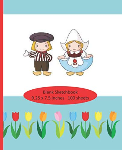 Blank Sketchbook - 100 sheets - 9.25 x 7.5: The Netherlands, Holland, Dutch theme - windmill, ()