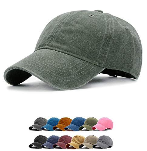 (Vintage Baseball Cap 100% Washed Twill Soft Cotton Adjustable Unisex Dad-Hat (Army Green))