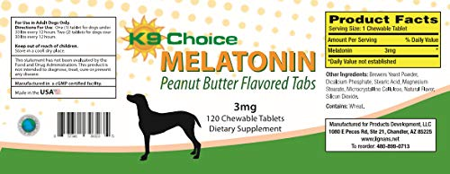 K9 Choice Melatonina Perros 0.007 oz masticable Sabor a Mantequilla ...