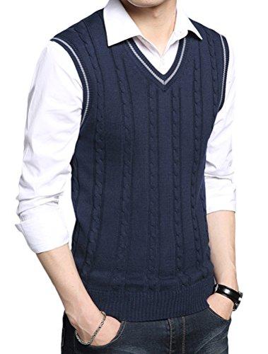 Lavnis Men's V-Neck Pullover Vest Casual Sleeveless Knitted Slim Fit Sweater Vest Blue M