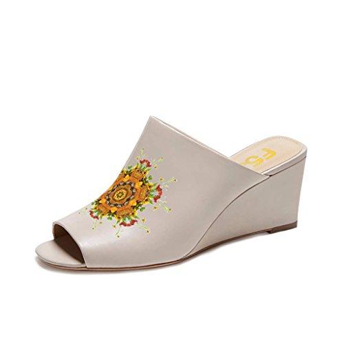 Fsj Vrouwen Sexy Peep Toe Muilezel Stijl Wedge Sandals Instappers Voor Casual Grootte 4-15 Ons Taupe-gele Bloem