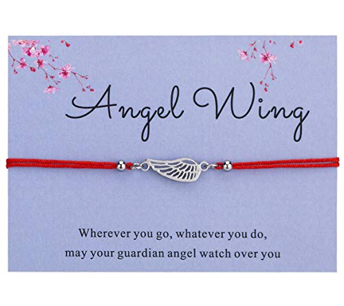(Bowisheet Angel Wing Bracelet Handmade Red Cord Ajustable Bracelet with Message Card Gift for)
