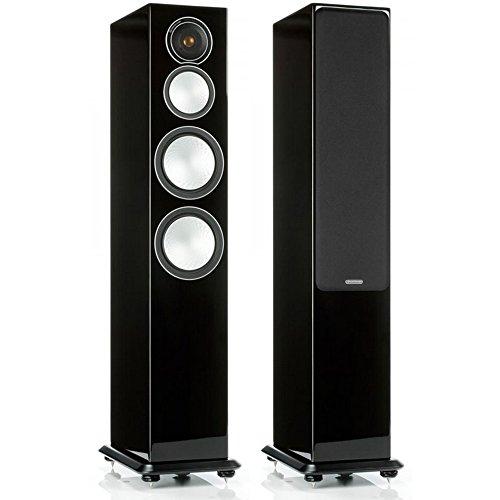 Monitor Audio Silver 8 - Par de caixas acústicas Torre 3-vias para Home Theater Preto Laqueado