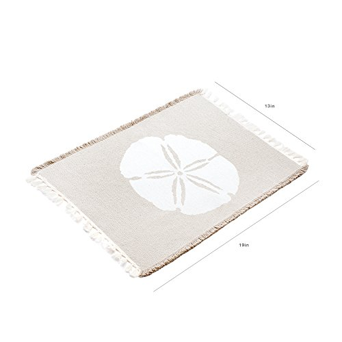 Living Fashions Table Placemats Set By 4 Beach Themed Nautical Kitchen Place Mats For The Dining Table Made With 100% Washable Cotton - Seashell, Sand Dollar, Starfish & Anchor Designs With Fringes by Living Fashions (Image #6)