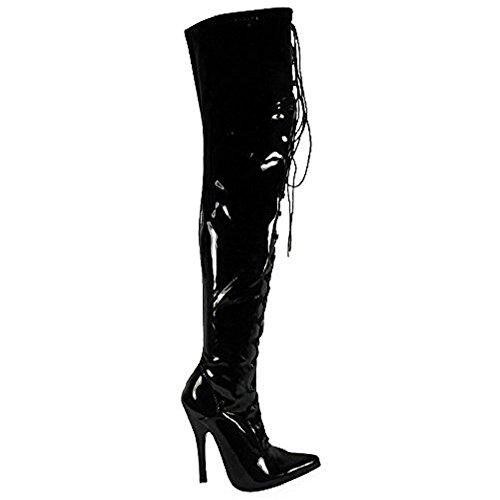 Cuisse Ftiche Lacets Chaussures 3 Bottes Fort Taille Aiguille Talon Look Dentelle Haute Devant Femmes Sortir Dames La 8 Uk xqSzpOwt0