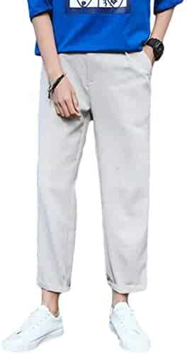 aa93b3aee92 Nanquan Men Straight Leg Loose Fit Solid Color Ankle Length Casual Pants  Trousers
