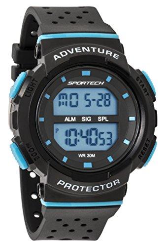 SPORTECH Unisex | Black & Blue Digital Water-Resistant Sports Watch | SP12704 by Sportech