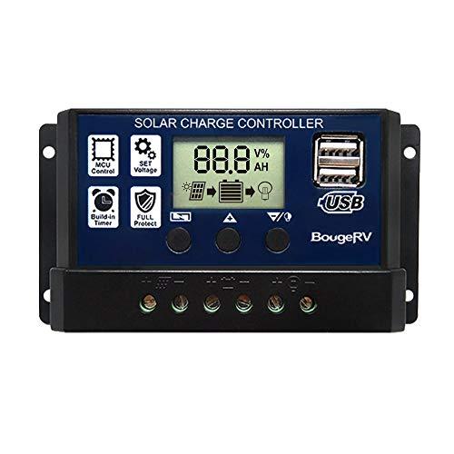 BougeRV 30A Solar Charge Controller Solar Panel Battery Regulator 12V/24V with Dual USB Port Display [ Updated Version ]