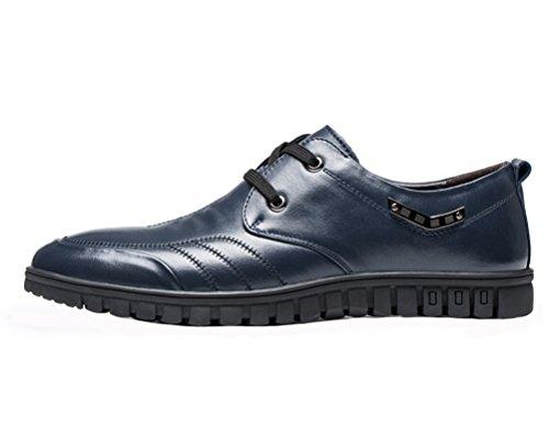 GUCIHEAVEN Men Flats Walking Shoe Leather Chukka Shoe Blue aTRmZ89jJ