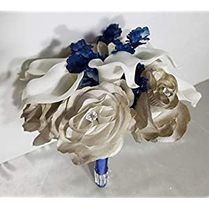 Champagne Navy Blue Rose Calla Lily Bridal Wedding Bouquet & Boutonniere 2