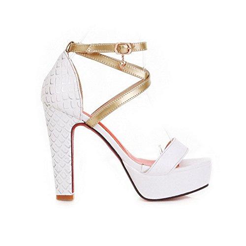 Toe White 5 Sandals Soft Platform Material Heel 4 Heels UK High Womens Open Colors PU Chunky VogueZone009 Assorted fx6waEBOqz