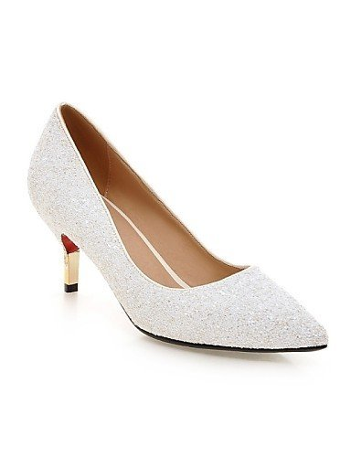 ShangYi Chaussures Femme - Mariage / Bureau & Travail / Soirée & Evénement - Noir / Blanc / Argent / Or - Talon Aiguille - Talons - Talons - , golden-us8 / eu39 / uk6 / cn39 , golden-us8 / eu39 / uk6