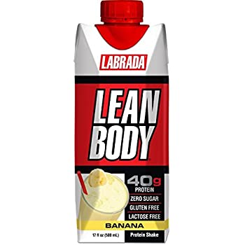 LABRADA - Lean Body Ready To Drink Whey Protein Shake, Convenient On-The-Go Meal Replacement Shake for Men & Women, 40 grams of Protein – Zero Sugar, Lactose & Gluten Free, Bananas & Cream(Pack of 12)