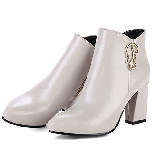 COOLCEPT Women Western Block High Heel Ankle Boots With Zip Grey ZHYjn