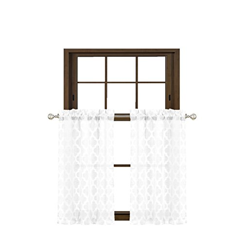 Bathroom and More Collection Pure White 2 Piece Window Curtain Café Tier Set Textured Moroccan Trellis Tile Design (Cafe/Tier Pair (2): 24