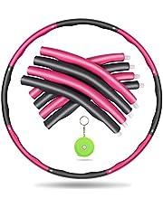 Awroutdoor Gewogen fitnesshoepel, zachte EVA-schuimgevoerde oefenhoepels voor tieners en volwassenen, oefening, dans en fitness, met verwijderbare borden en intrekbare meetlint
