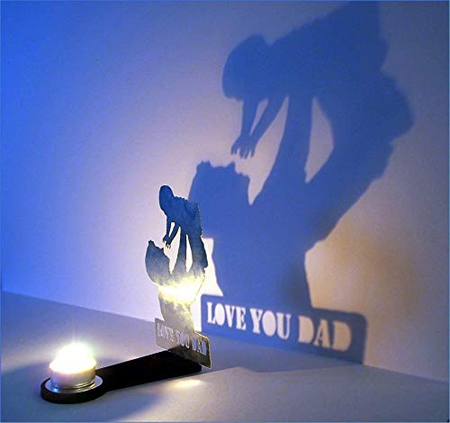 Father and Child sculpture Decorative Candle Holder | Personalized gift for Dad | Home Decor Dad and Kid Metal Sculpture Candle Stand | Creates an impressive shadow on the wall | Decorative Holder (Candle Sculpture)