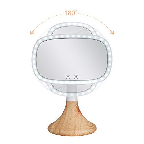 Dependable Direct Lighted Makeup Mirror – Incredibly Bright LED Light – Wireless Capabilities – and Stylish - with 10x Magnification Spot Mirror - Mirror with Wood Grain Finish Base by Dependable Direct (Image #3)